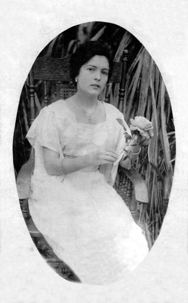 """1920 Another photograph of Olivia Valcarcel, my great-great-grandmother, this time on January 10, 1920. She wrote: """"To my beloved Ventura, as a keepsake of his love"""" - Olivia"""