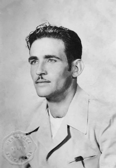 """1944 My handsome great-great uncle, Cristobal Peña Garcia. The photo was taken in Ciego del Hornillo, July 25, 1944. He wrote: """"I dedicate this foto, with all my love, to my nephew and sister, Ynocencia and Pablo. Cristobal Peña"""""""