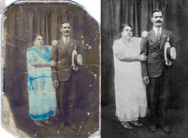 """c.1930 My great-great grandparents, on my mom's side, Domingo Viera and Margarita Segui Martinez. They wrote: """"With love, to my brother, sister-in-law, and nephews, from Margarita Segi Martinez y Domingo Viera."""""""