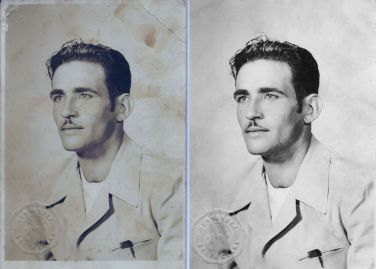 "1944 My handsome great-great uncle, Cristobal Peña Garcia. The photo was taken in Ciego del Hornillo, July 25, 1944. He wrote: ""I dedicate this foto, with all my love, to my nephew and sister, Ynocencia and Pablo. Cristobal Peña"""