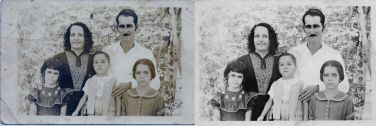 """1953 My great-grandparents - Ynocencia Natividad Peña Garcia, and Bernardo Pablo Viera Segui - and their children, my grandma - Minerva Anastasia Viera Peña - and my great-aunt and -uncle - Nilde Rufina Viera Peña and Clemente Emilio Viera Peña. The photo was taken September 20, 1953, in their estate, El Porvenir (The Coming), Manicaragua, Villa Clara, Cuba My great-grandfather wrote: """"With all my affection, for my uncle and aunt, Antonio and Ysabel, from their nephew Pablo, and family"""""""